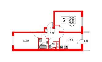 2 комн. кв. 57.17 м²