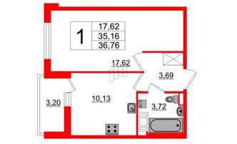 1 комн. кв. 35.16 м²