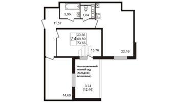 3 комн. кв. 69.89 м²