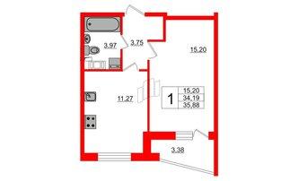 1 комн. кв. 35.88 м²