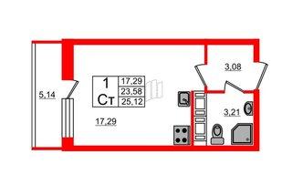 Студия 23.58 м²