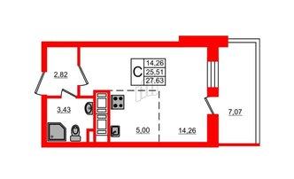 Студия 25.51 м²