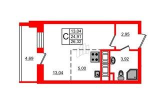 Студия 24.91 м²
