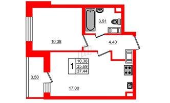 2 комн. кв. 35.69 м²