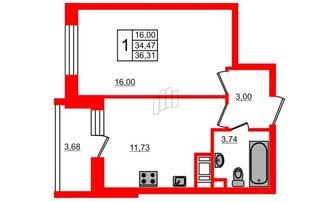 1 комн. кв. 34.47 м²