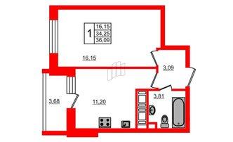 1 комн. кв. 34.25 м²