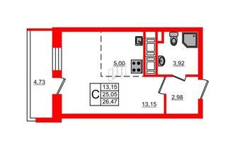 Студия 25.05 м²