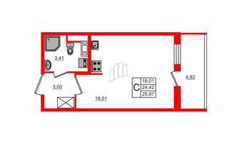 Студия 24.42 м²