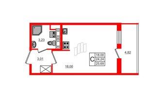 Студия 24.24 м²