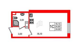 Студия 24.6 м²