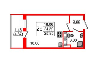 Студия 24.39 м²