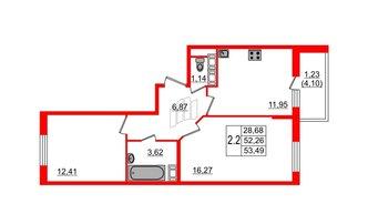 2 комн. кв. 52.26 м²