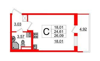 Студия 24.61 м²