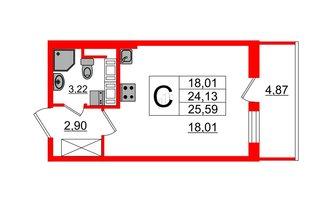 Студия 24.13 м²