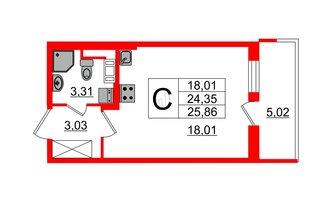 Студия 24.35 м²