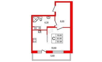 Студия 30.9 м²