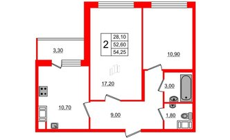 2 комн. кв. 52.6 м²