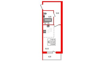 Студия 31.4 м²