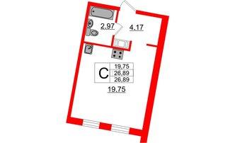 Студия 26.89 м²