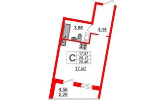 Студия 28.46 м²