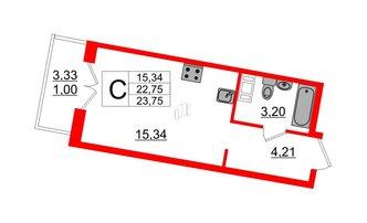 Студия 23.75 м²