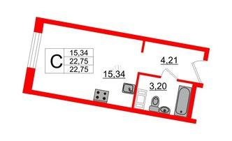 Студия 22.75 м²