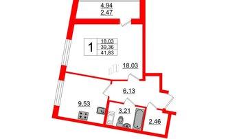 1 комн. кв. 41.83 м²