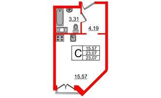 Студия 23.07 м²