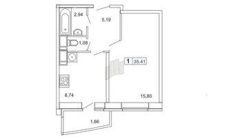 1 комн. кв. 35.6 м²
