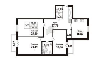 3 комн. кв. 126.6 м²
