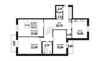 3 комн. кв. 126.8 м²