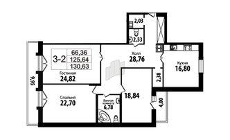 3 комн. кв. 126.4 м²