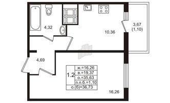 1 комн. кв. 35.63 м²