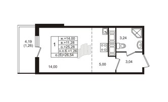 Студия 25.28 м²