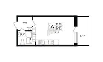 Студия 24.3 м²