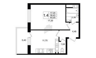 1 комн. кв. 38.43 м²