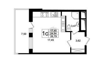 Студия 24.54 м²