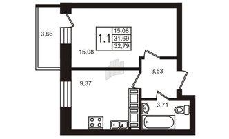 1 комн. кв. 31.69 м²