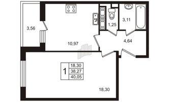 1 комн. кв. 38.27 м²