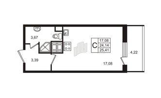 Студия 24.14 м²