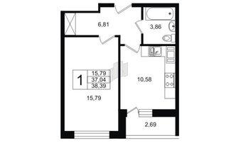 1 комн. кв. 38.39 м²
