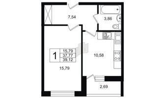 1 комн. кв. 39.12 м²