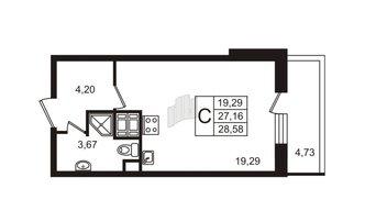 Студия 27.16 м²