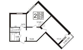 2 комн. кв. 64.27 м²