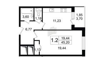 1 комн. кв. 46.45 м²