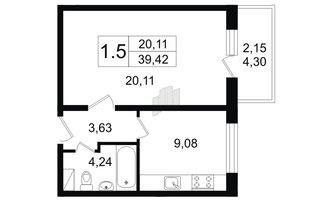 1 комн. кв. 39.42 м²