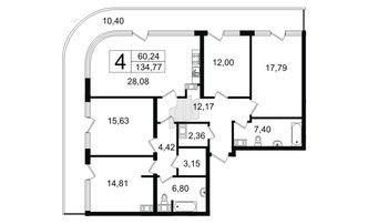 5 комн. кв. 134.77 м²