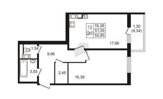 1 комн. кв. 51.55 м²