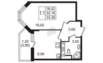 1 комн. кв. 32.16 м²