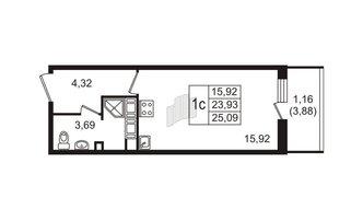 Студия 23.93 м²